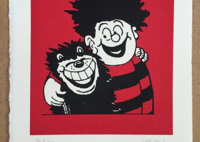 Dennis the Menace and Gnasher hug