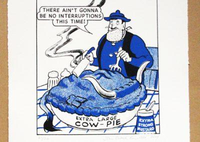 Desperate Dan eats cow pie with meat cleaver