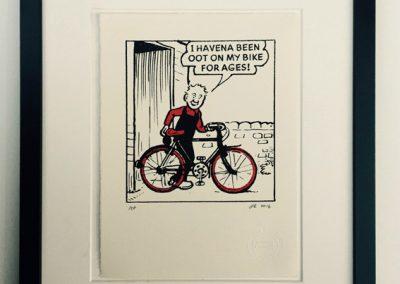 Oor Wullie and his bike framed £90