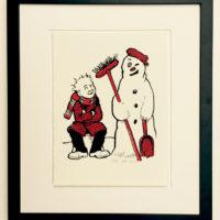 Oor Wullie and the snowman framed £