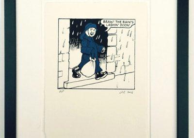Oor Wullie in a sou'wester framed £90
