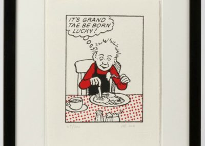 Oor Wullie says It's grand to be barn lucky framed £90