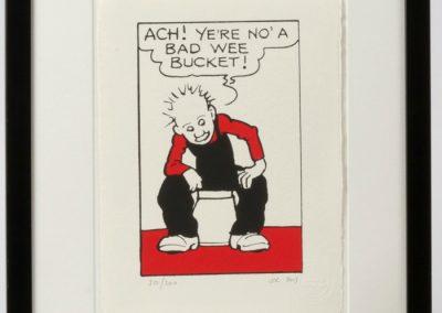 Oor Wullie talks to his bucket framed £90