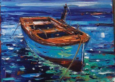 Jean Feeney Boat Framed Price £395 (Original Oil Painting)